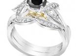 טבעת אירוסין זהב צהוב יהלום שחור 1 קארט
