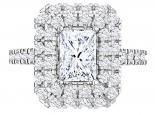 טבעת יהלום מלבני יוקרתית 2 שורות יהלומים