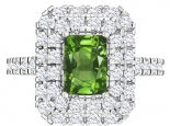 טבעת אבן חן אמרלד ברקת ספיר רובי מלבני יוקרתית 2 שורות יהלומים