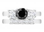 סט טבעות- טבעת טריפל וטבעת תואמת- יהלום שחור מרכזי