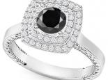 טבעת יהלומים מרובעת יהלום שחור מרכזי