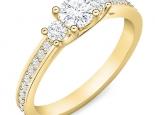 טבעת 3 יהלומים בעיצוב טריפל