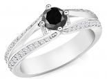 טבעת יהלום  שחור 1 קארט מעוצבת