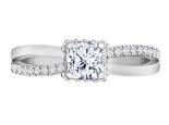 טבעת יהלומים בעיצוב טוויסט- 1 קראט מרכזית