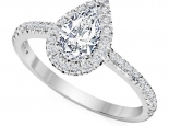 טבעת יהלום בעיצוב טיפה- חצי קארט יהלום מרכזי