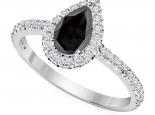 טבעת יהלום בעיצוב טיפה- יהלום שחור מרכזי