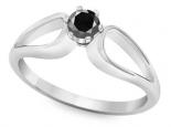 טבעת אירוסין עדינה- יהלום שחור מרכזי