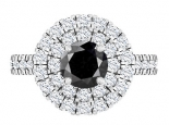 טבעת יהלומים גדולה ומרשימה יהלום שחור מרכזי