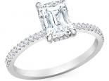 טבעת יהלום מלבן אמרלד באגט ראדיאן  1 קארט