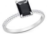טבעת יהלום מלבן אמרלד באגט ראדיאן יהלום שחור