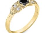 טבעת וינטג משובצת יהלום שחור מרכזי