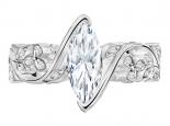טבעת יהלומים מעוצבת יהלום מרכזי חצי קארט