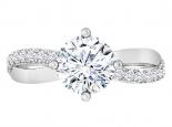טבעת אירוסין מעוצבת- טבעת סוליטר 1 קראט מרכזית