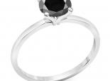 טבעת יהלום עדינה יהלום שחור