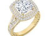 טבעת אירוסין מיוחדת הולו- 0.50 קראט מרכזית