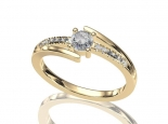 טבעת אירוסין מעוצבת- עיצוב טוויסט 0.50 קראט מרכזית