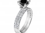 טבעת אירוסין ונישואין- סט תואם - יהלום שחור