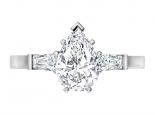 טבעת יהלום בעיצוב טיפה יהלום מרכזי 30 נקודות