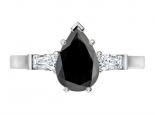 טבעת יהלום שחור בעיצוב טיפה