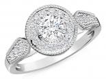 טבעת אירוסין הולו בעיצוב וינטג' חצי קארט מרכזית