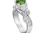 טבעת טריפל אבני חן ויהלומים יוקרתית - אמרלד