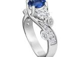 טבעת טריפל אבני חן ויהלומים יוקרתית- ספיר