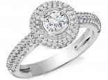 טבעת אירוסין זהב לבן הולו - 1 קראט מרכזית