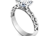 טבעת אירוסין מרשימה 6 שיניים עיצוב וינטג חצי קארט מרכזית