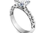 טבעת אירוסין מרשימה 6 שיניים עיצוב וינטג מרכזית 1 קארט