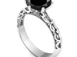 טבעת אירוסין מרשימה 6 שיניים עיצוב וינטג יהלום שחור
