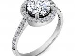 טבעת אירוסין הולו משובצת יהלומים 3/4 קארט מרכזית