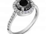 טבעת אירוסין הולו משובצת יהלומים יהלום שחור מרכזי