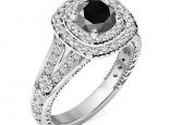 טבעת אירוסין הולו עשירה ביהלומים יהלום שחור מרכזי