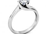 טבעת אירוסין קלאסית עדינה בעיצוב טוויסט חצי קארט מרכזית