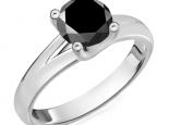 טבעת אירוסין סוליטר 4 שיניים יהלום שחור