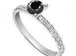טבעת אירוסין קלאסית עדינה יהלום שחור
