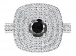 טבעת הולו משובצת 3 שורות יהלומים- יהלום שחור מרכזי