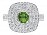 טבעת הולו משובצת 3 שורות יהלומים- אבן חן מרכזית