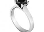 טבעת יהלום שחור סוליטר קלאסית