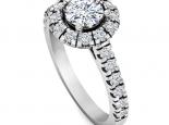 טבעת הולו עדינה משובצת יהלומים- 1 קארט מרכזית