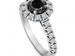 טבעת הולו עדינה משובצת יהלומים- יהלום שחור מרכזי