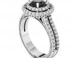 טבעת יהלומים הולו גבוה ועשירה ביהלומים- יהלום שחור מרכזי