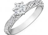 טבעת אירוסין סוליטר ויהלומים מסביב בעיצוב טוויסט- יהלום מרכזי 3/4 קארט