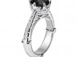 טבעת יהלום שחור עשירה בעיצוב וינטג'