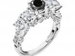 טבעת אירוסין וינטג -טבעות וינטג יוקרתית- יהלום שחור