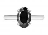 טבעת סוליטר יהלום שחור אובל