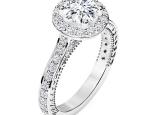 טבעת אירוסין זהב לבן הולו