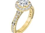טבעת אירוסין זהב צהוב בעיצוב הולו