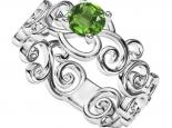 טבעת תחרה אבן חן מרכזית
