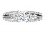 טבעת יהלומים בעיצוב וינטג'- 1 קראט מרכזית